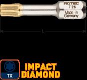 IMPACT Schroefbit T 25, L=30, C6.3, DIAMOND (10 stuks)