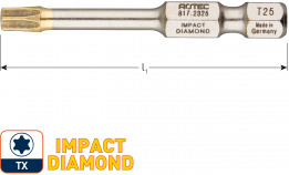 IMPACT insertbit T 10 L=50mm E 6,3  DIAMOND