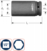 Krachtdoppen 1/2'' lang 16 mm