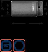 Krachtdoppen 1/2'' lang 21 mm