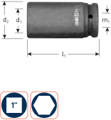 Krachtdoppen 1'' lang 24 mm