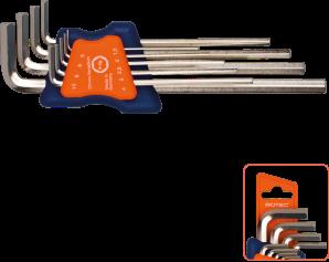 9 dlg.Inbussleutelset lang metrisch 1,5 - 10,0 mm (nikkel)