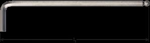 Kogelkop-inbussleutel lang model inch 5/64x100mm (nikkel)