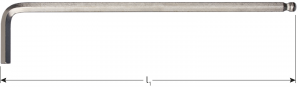 Kogelkop-inbussleutel lang model inch 7/32x170mm (nikkel)
