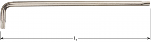 Torx® haakse sleutel lang model T25 x 126mm (nikkel)