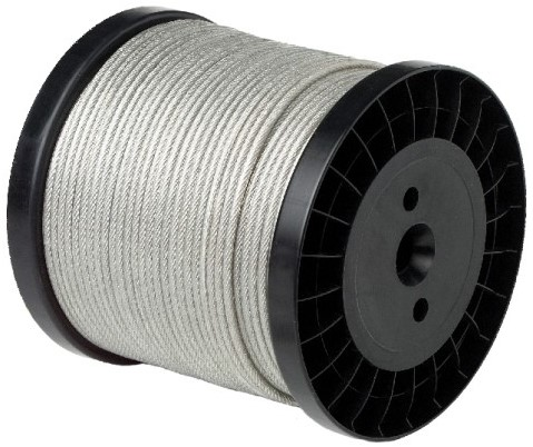 7x7 Staalkabel 1/1,5mm RVS-A4/PVC trans. rol a 250mtr.