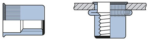 Q-Blindmoer Staal gesloten KVK M6 - [0.5-3.0mm] (250 st.)