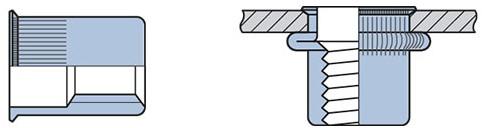 Q-Blindmoer Staal open KVK M6 - [0.5-3.0mm] (250 st.)