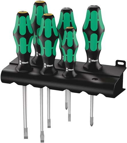 Wera 334/355/6 Schroevendraaierset Kraftform Plus Lasertip + houder PZ/sleuf 6-delig